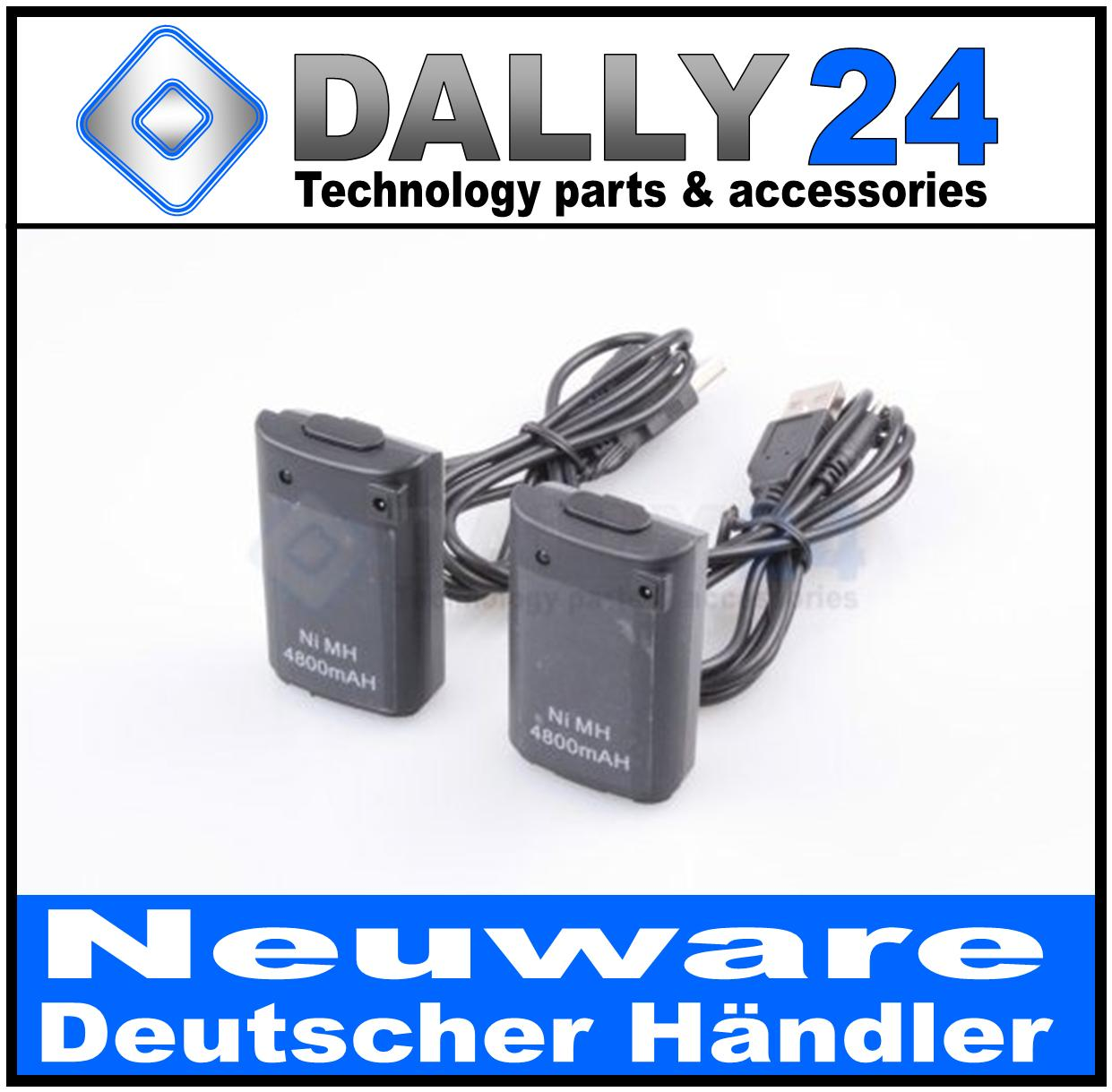 2x-Controller-Akku-Pack-fuer-Xbox-360-4800mAh-mit-Ladekabel-schwarz